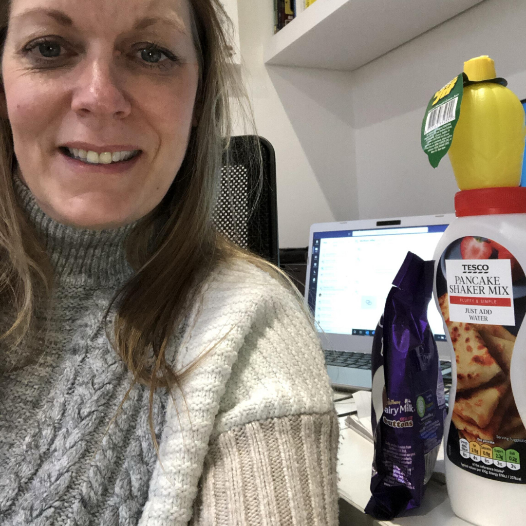 Jo with her Firefish Pancake Day kit