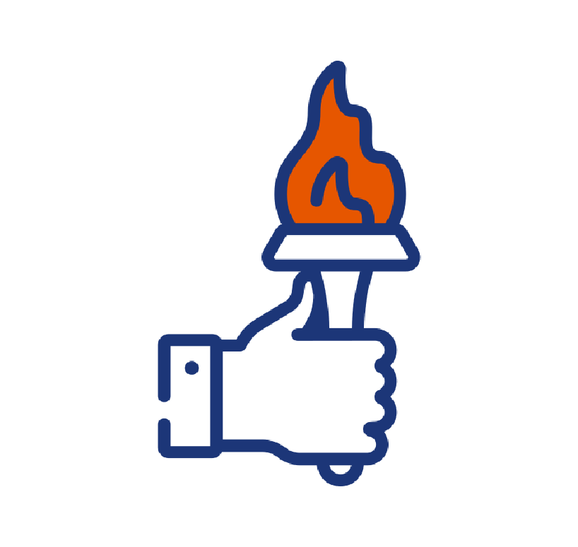 Hand holding torch icon
