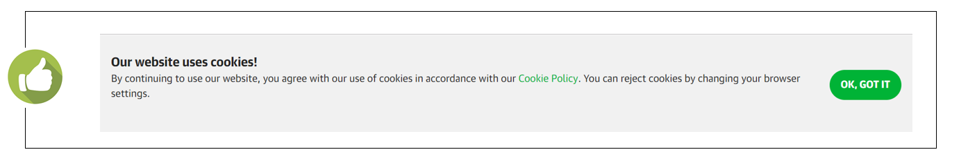 An example of a pop-up website banner informing visitors about the cookie policy