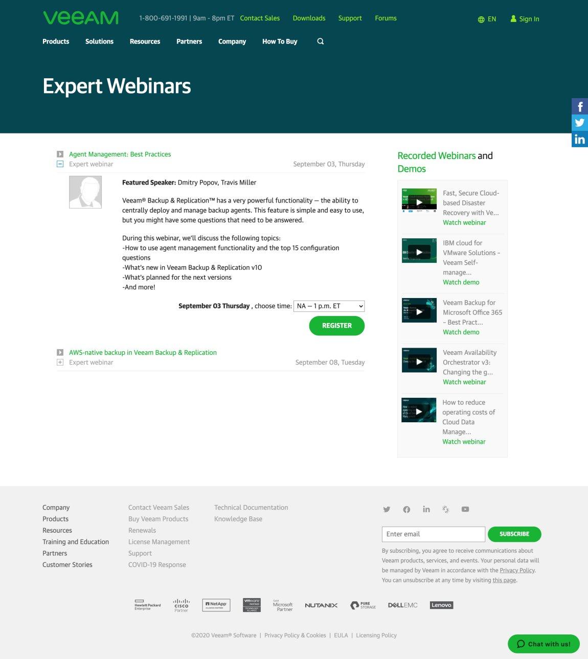 Example of Veeam's Webinar Landing Page