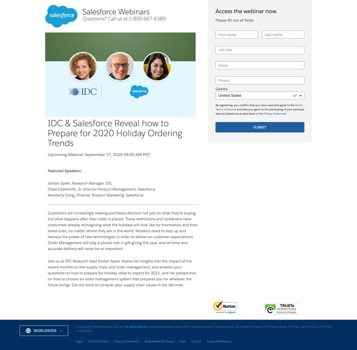 Example of SalesFroce's Webinar Landing Page
