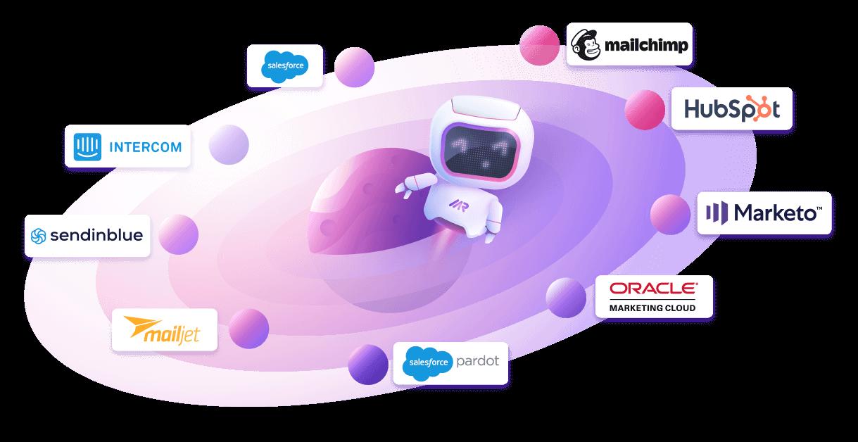 Marcom Robot Data Enrichment Integrations Illustration