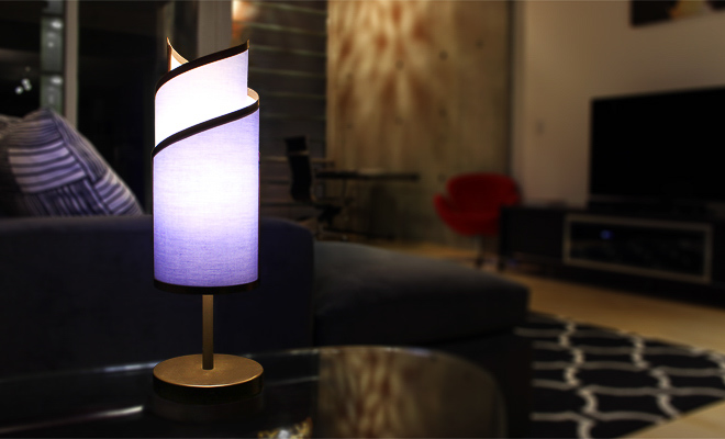 Interchangeable table lamp with lavender shade