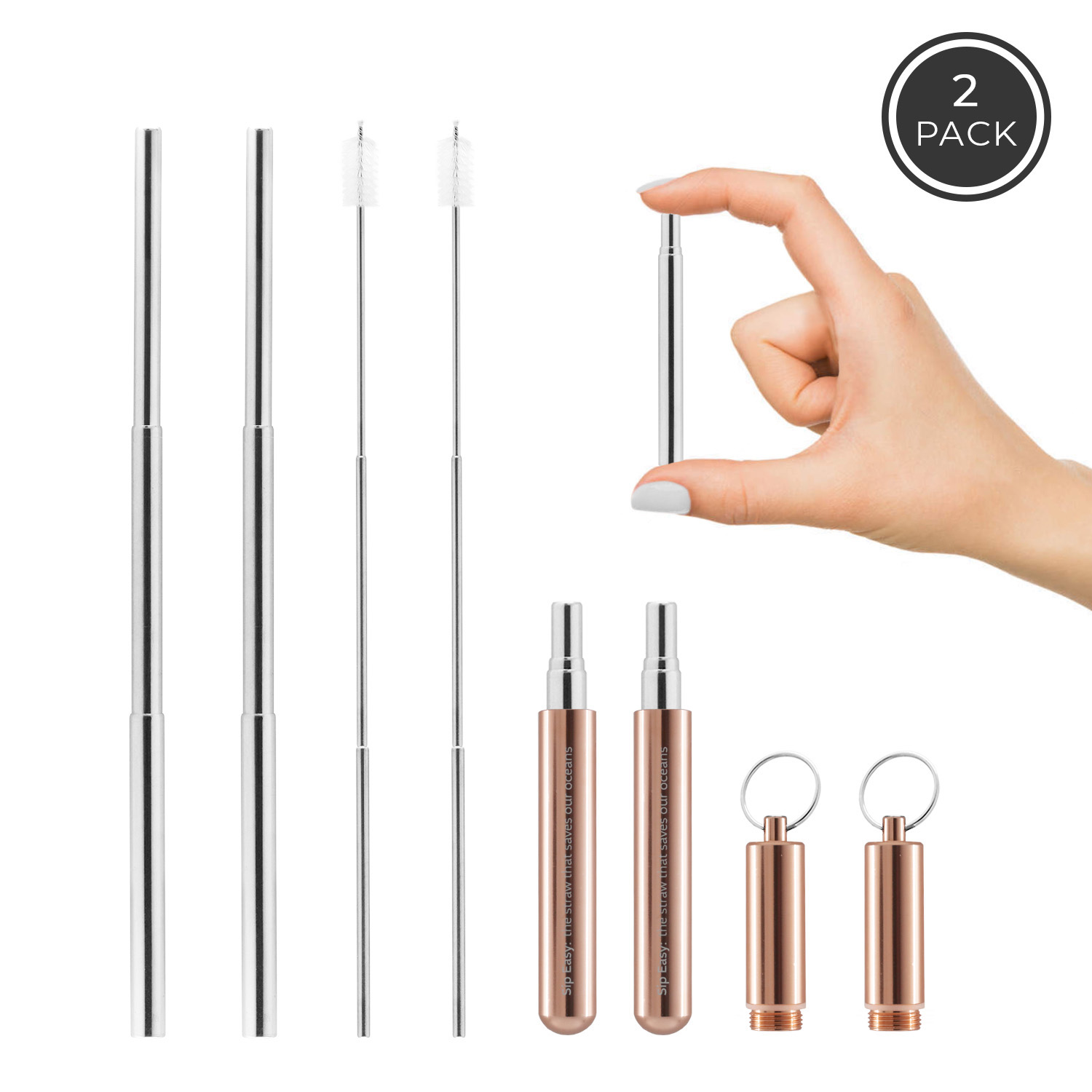 Collapsible stainless steel reusable straws