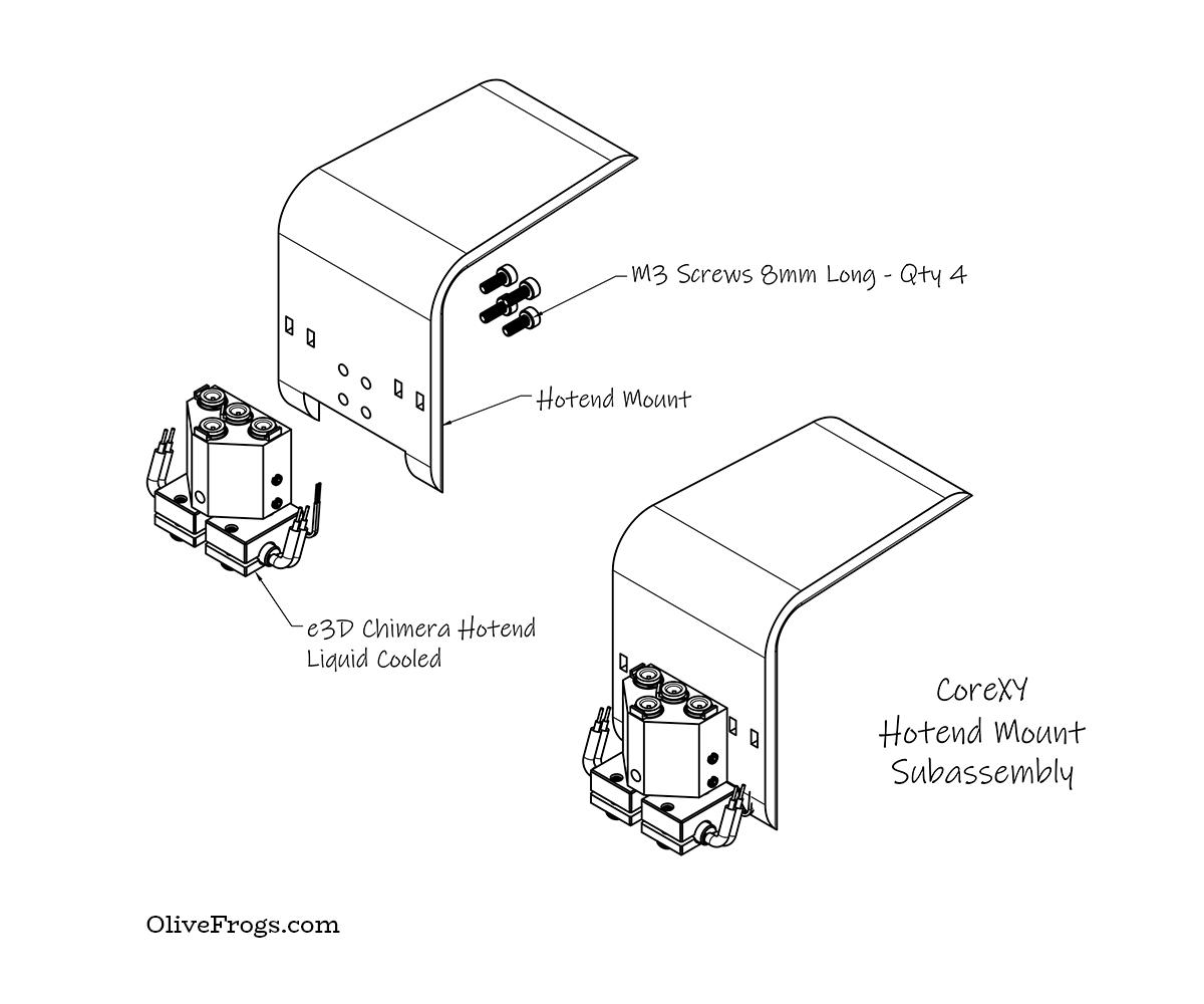 CoreXY Hotend Mount Isometric CAD
