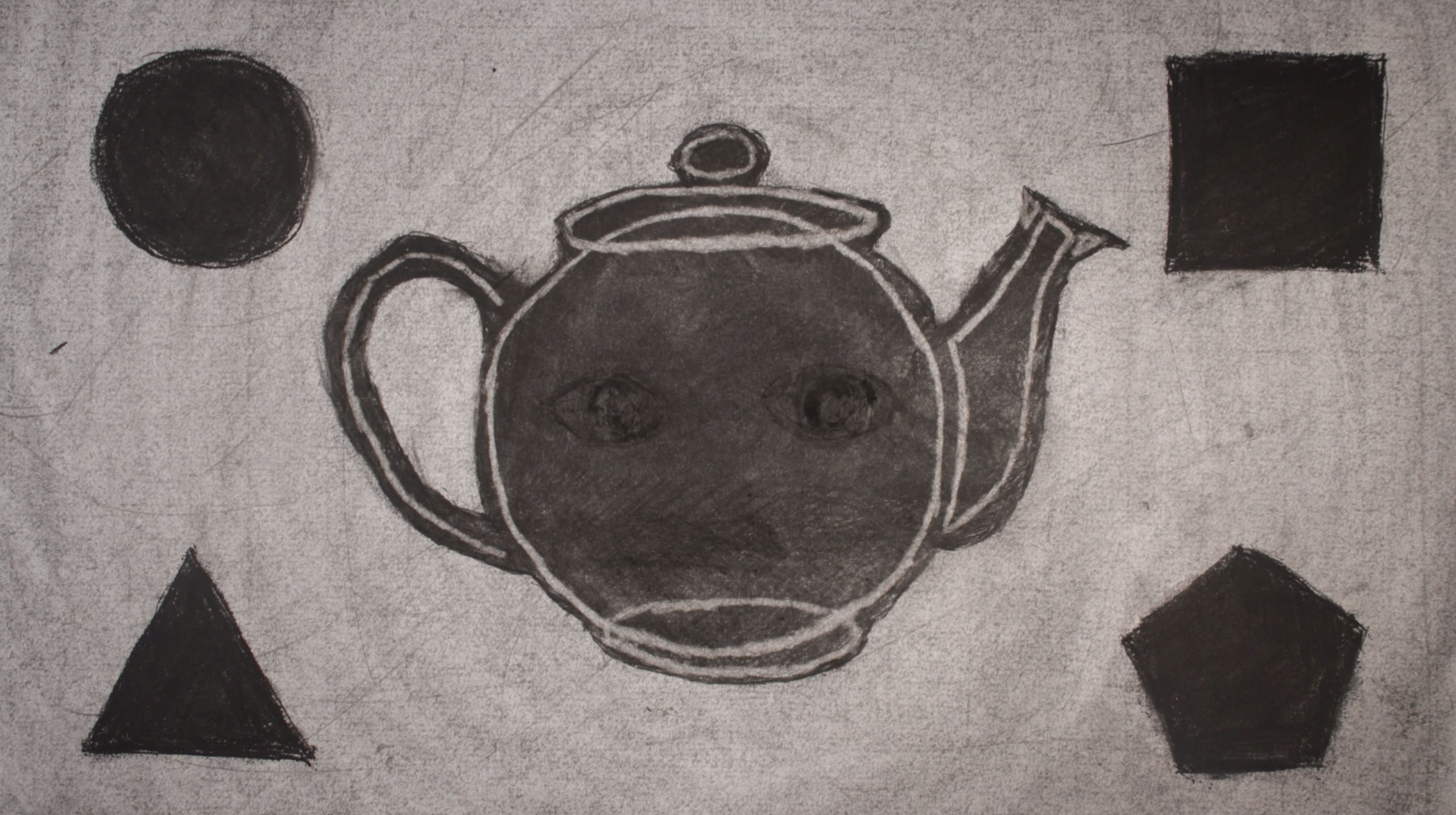 charcoal drawing of teacup with 4 shapes