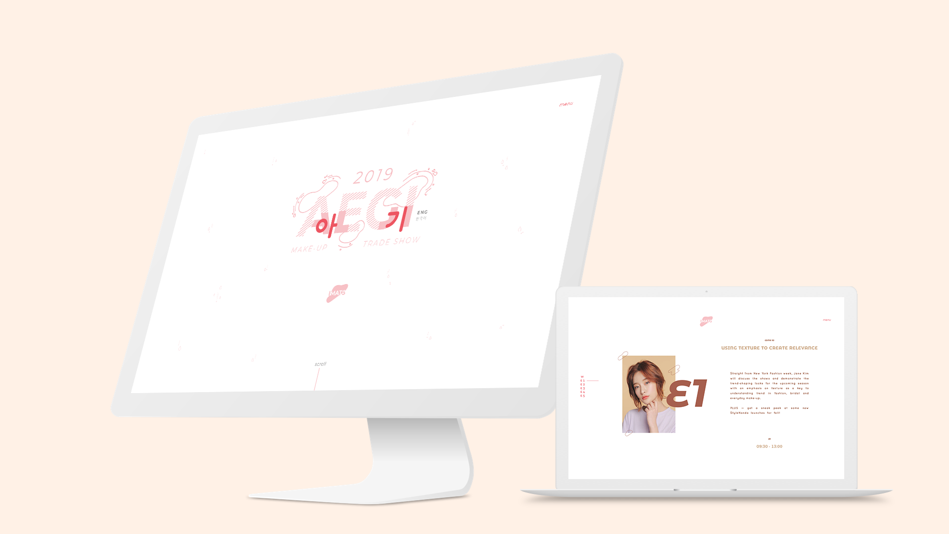 Mockup for responsive web design and branding for AEGI (a makeup trade show).