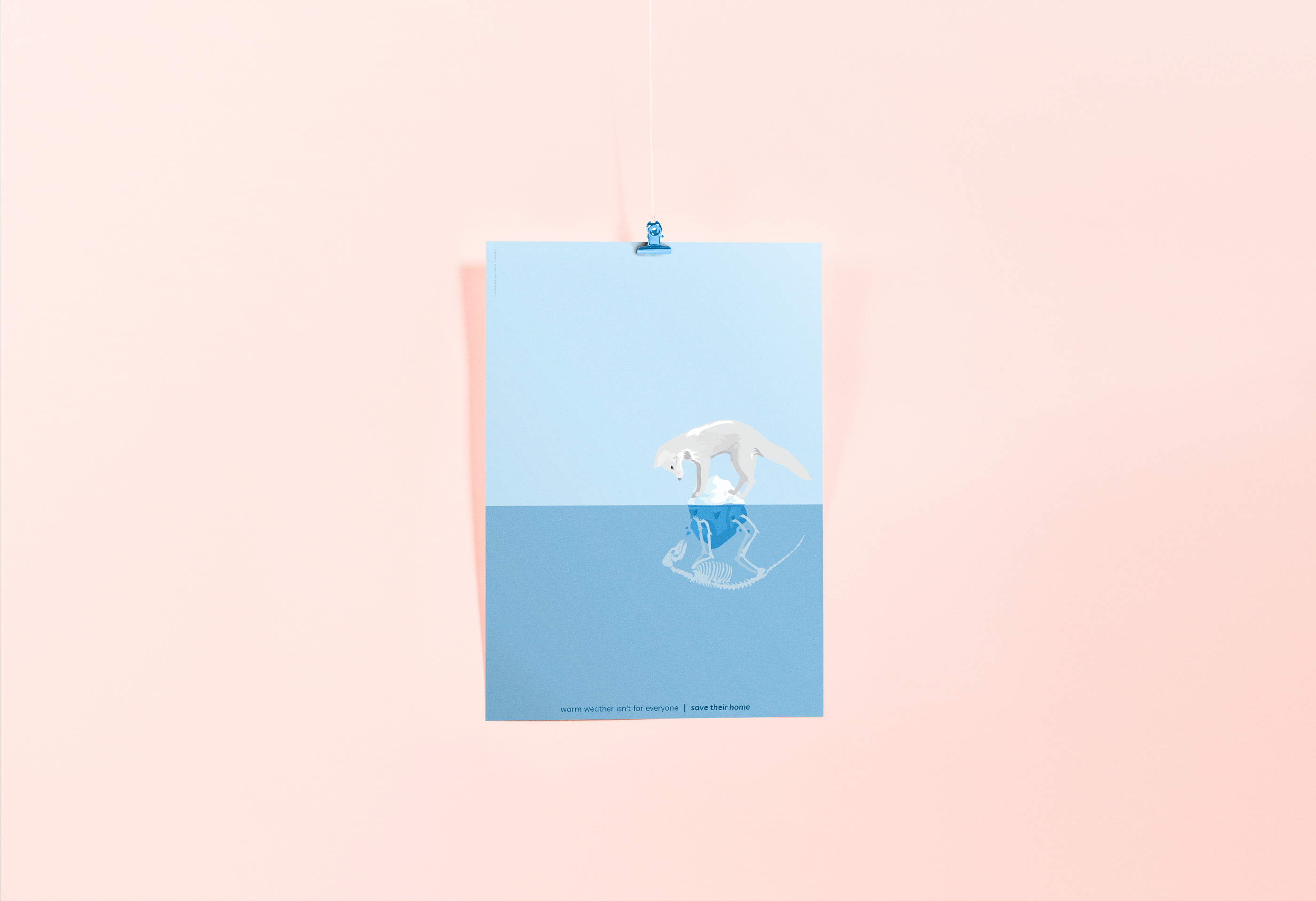 "A mockup for a poster showing an arctic fox hanging onto his life on the last bit of ice left, looking at a skeleton reflection of himself in the water. The bottom of the poster captions ""Warm weather isn't meant for everyone. Save their home."""