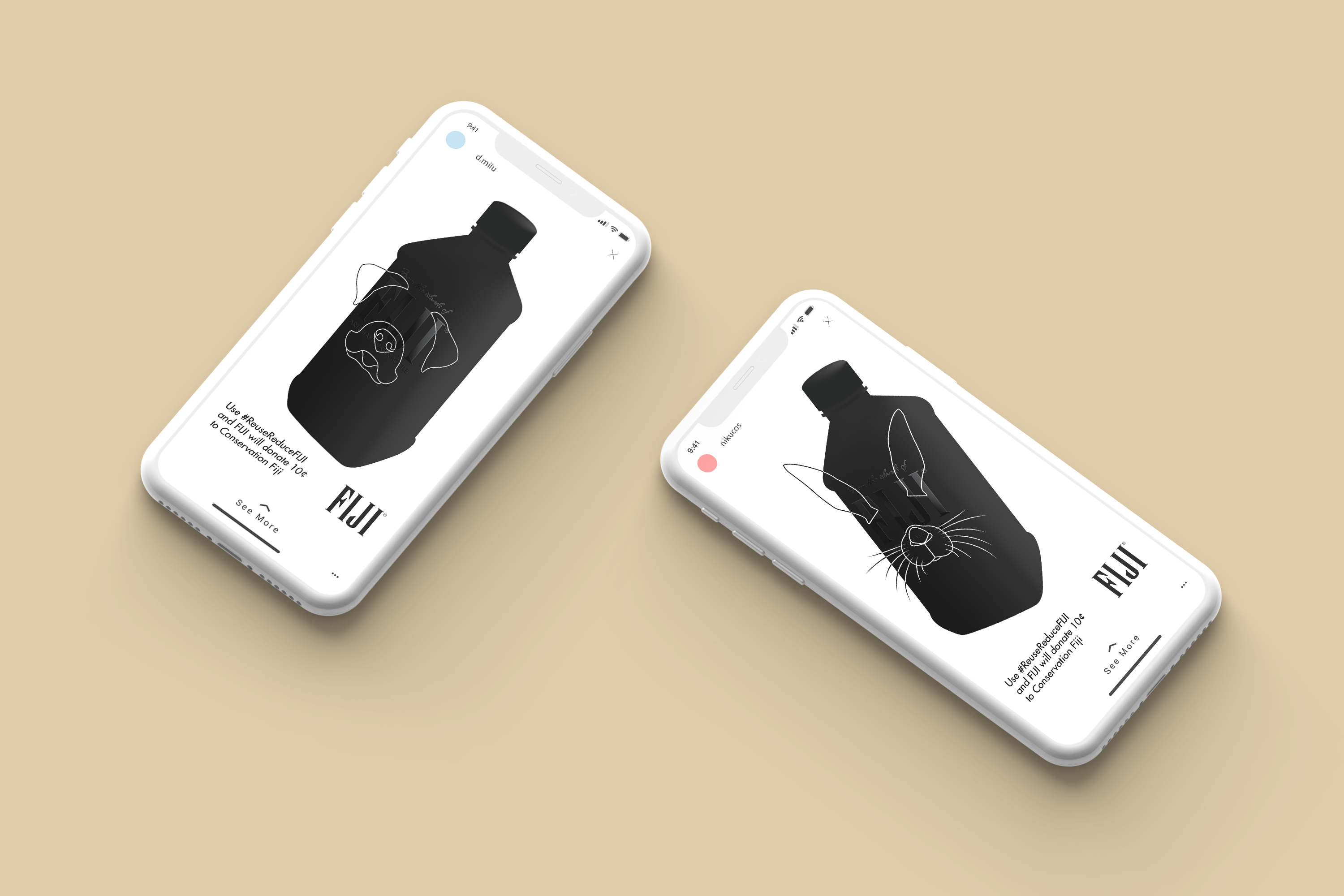 "An iPhone mockup for a FIJI Water campaign, showing the Instagram filter aspect of the campaign on limited edition matte black reusable FIJI water bottles. On the filter, it says ""Use #ReuseReduceFIJI and FIJI will donate 10 cents to Conservation Fiji"""