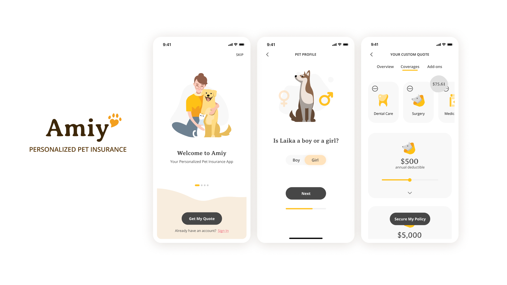Preview to the Amiy app, showing (from left to right) the logo, welcome screen, onboarding screen, and insurance policy customization page