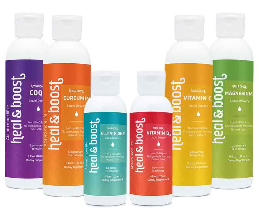 Best liquid vitamins on the market lined up, Vitamin B12, C and D. Glutathione, Magnesium, Melatonin and Tumeric.