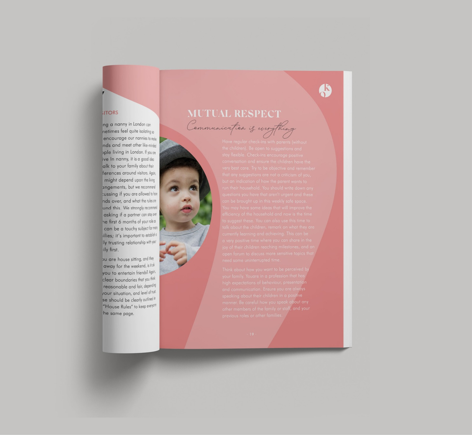 A brochure designed by Cousin Branding for KiwiOz Nannies
