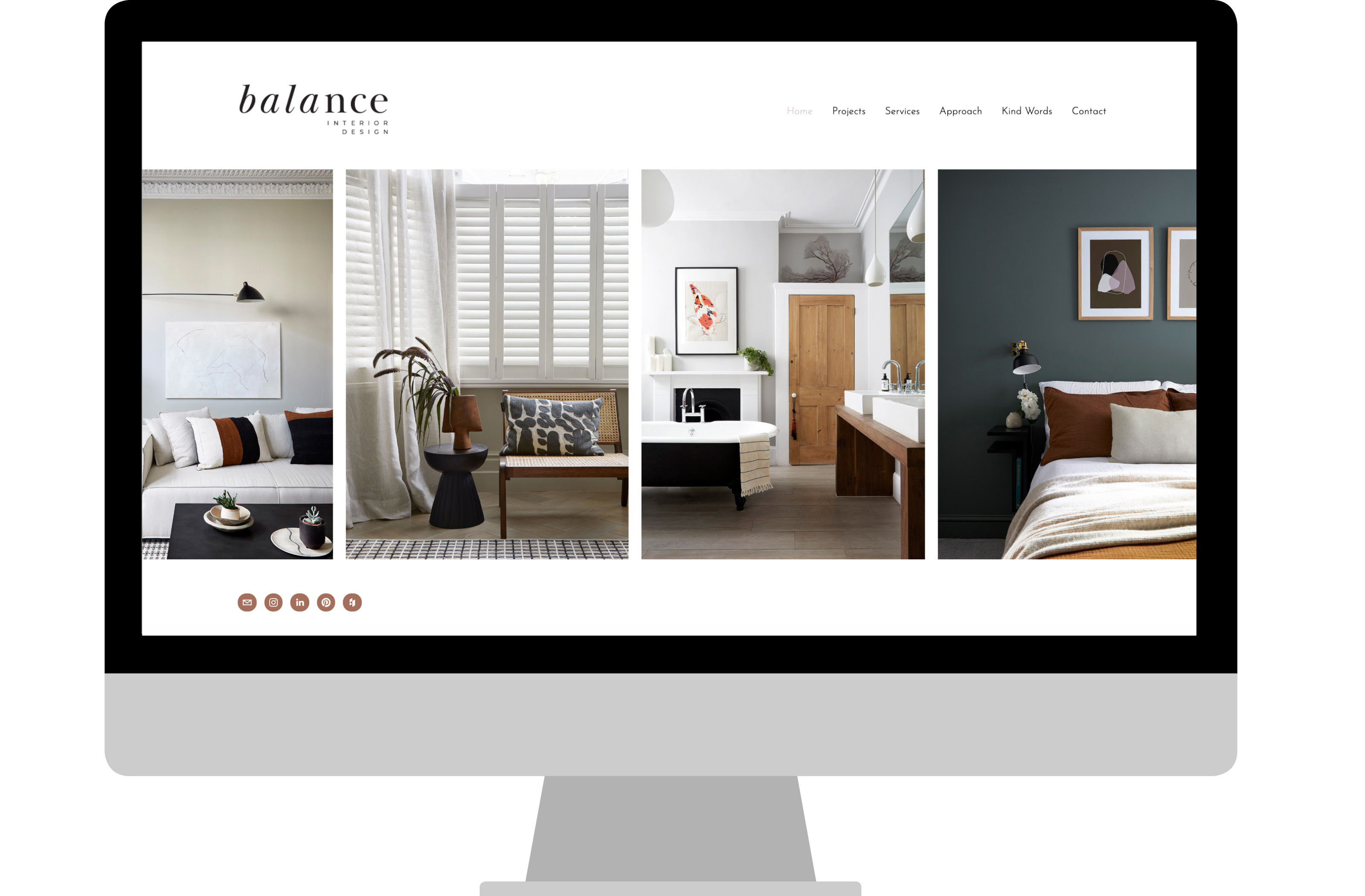 Balance Interior Design website home page designed by Cousin Branding