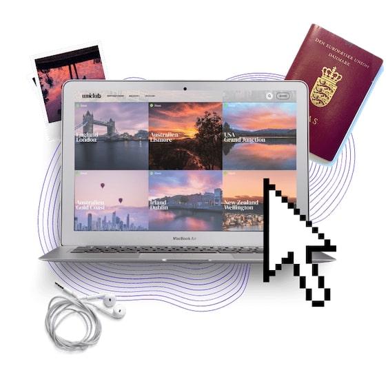 Computer passport looking for destinations