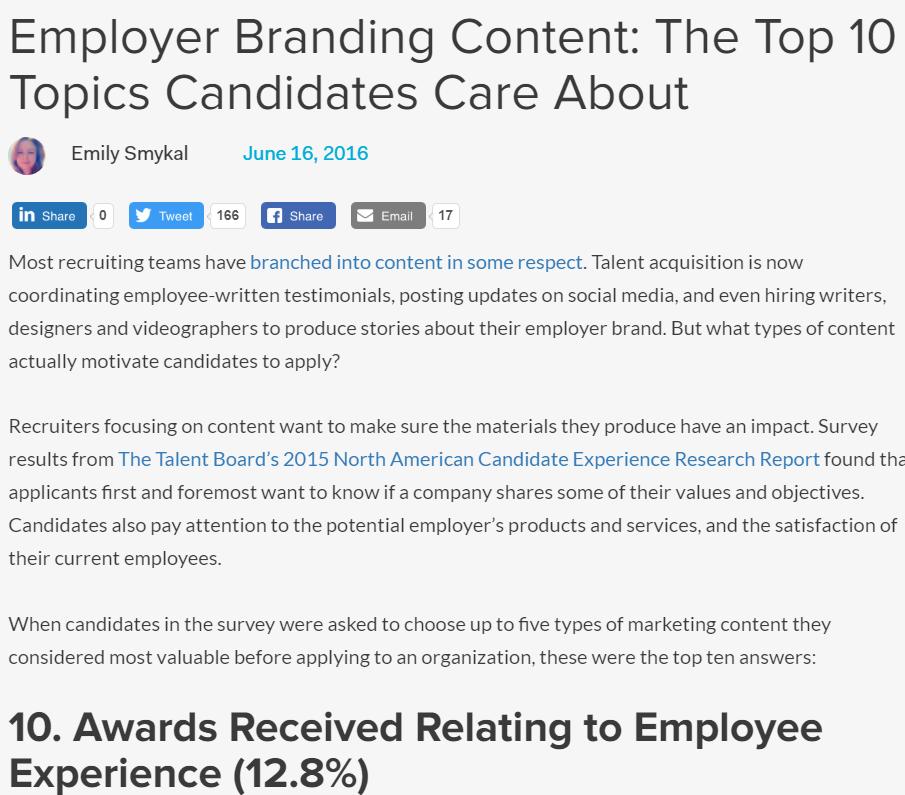 Top employer branding article: Employer Branding Content