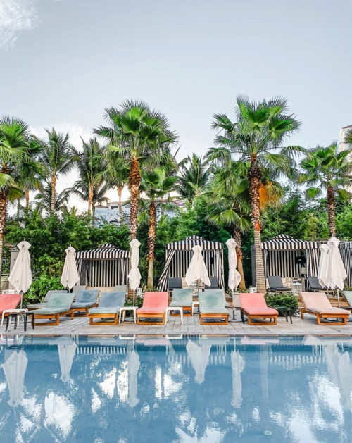 lounge chairs at a resort hotel with palm trees in the background
