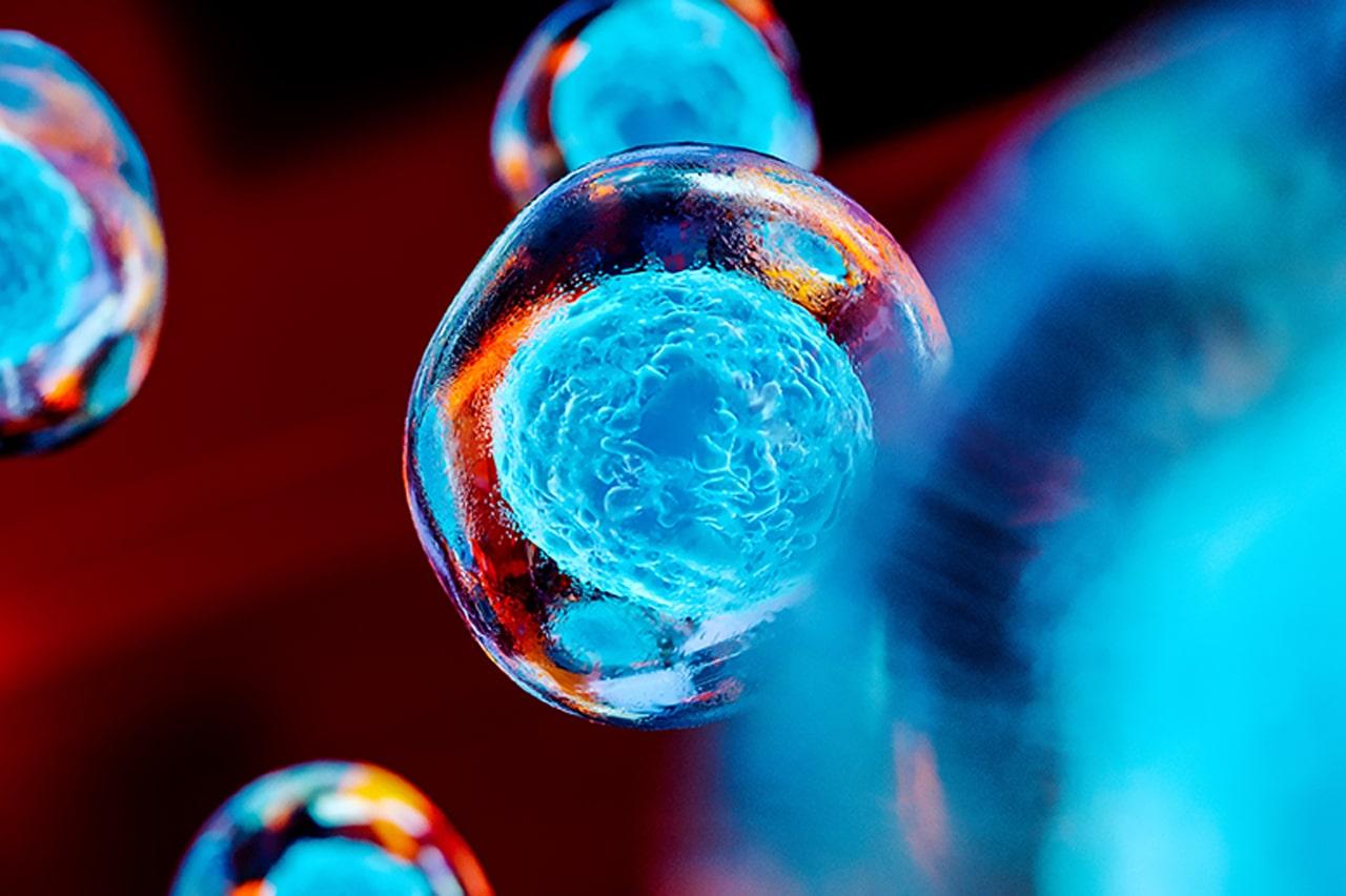 floating blue cancer cells