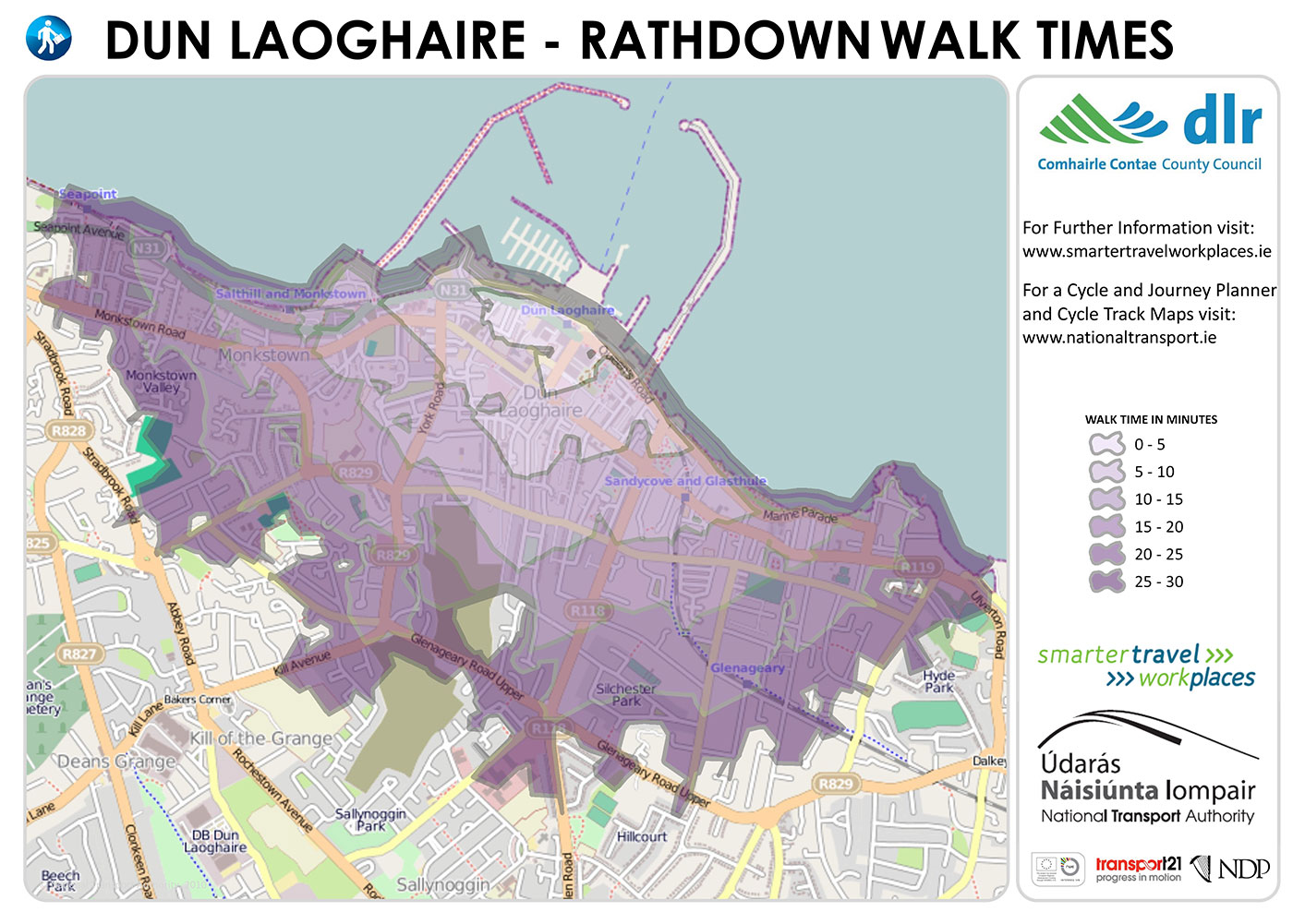 Dun laoghaire and Rathdown: DLR Tourism walk times information map