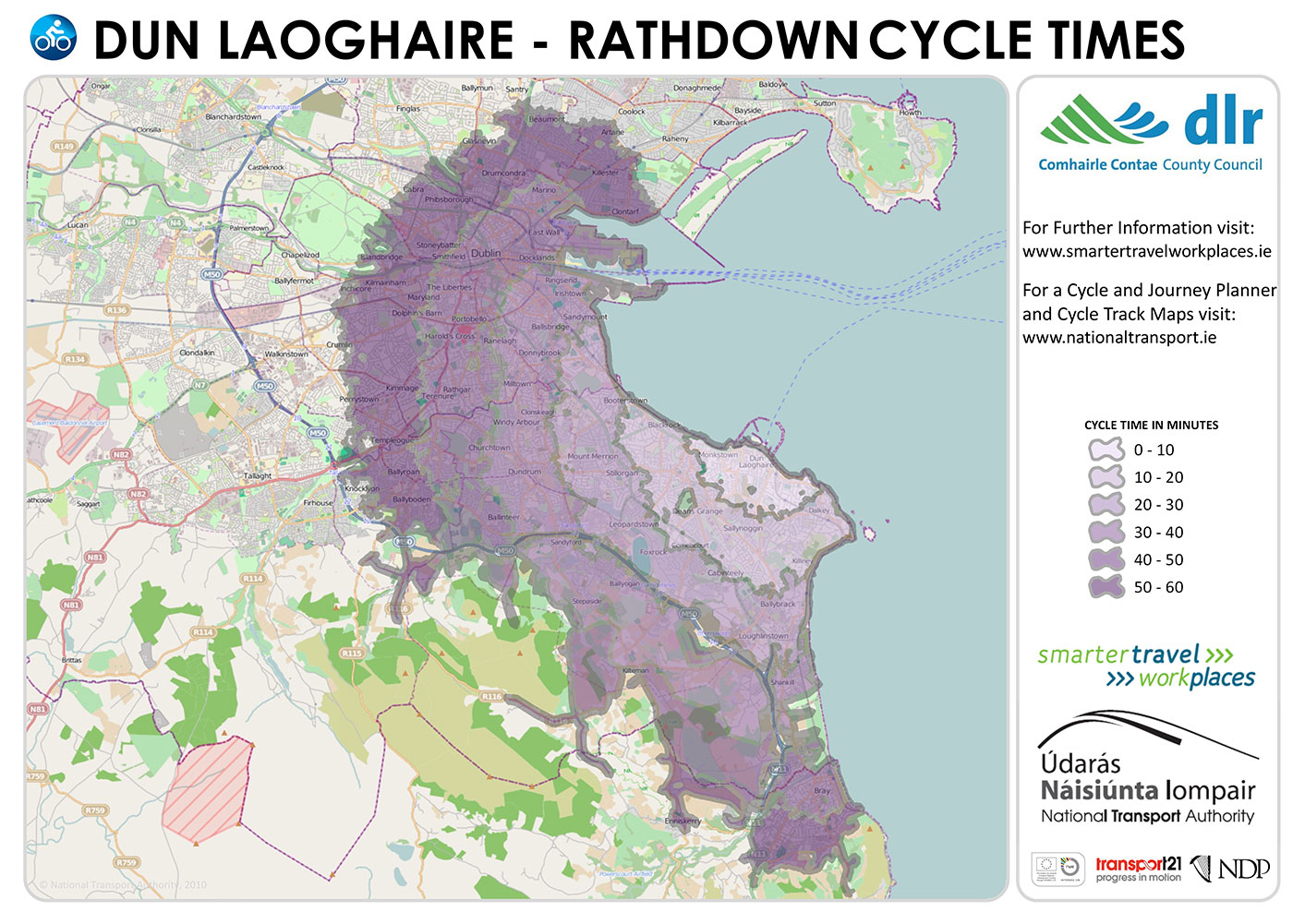 Dun laoghaire and Rathdown: DLR Tourism cycle times information map