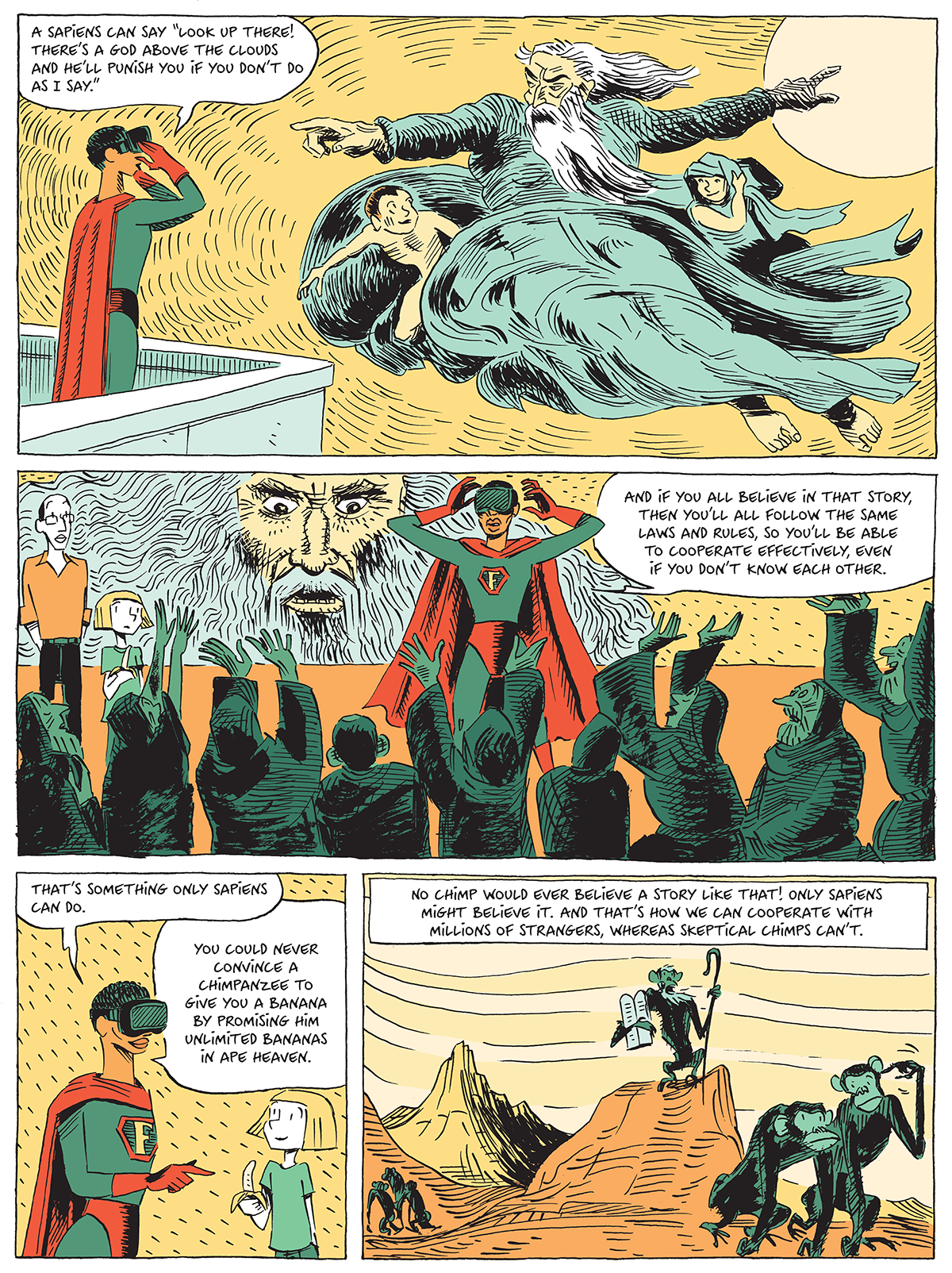 Comic page of god and monkeys flyer