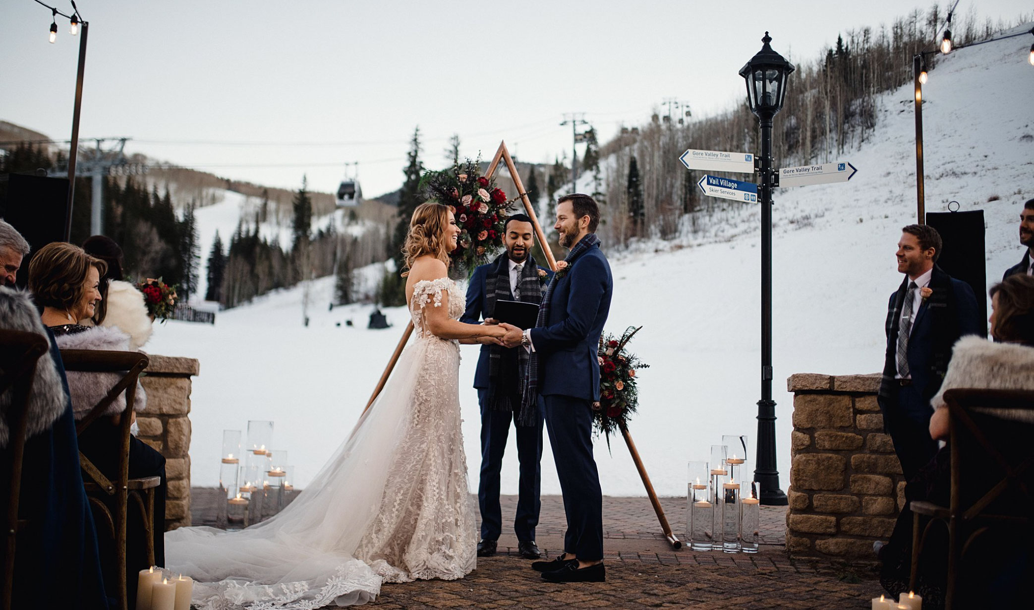 Our dream was to have a snowy, winter wedding in Colorado, yet we knew an outdoor wedding ceremony in December could be difficult to coordinate. After a year of planning with the most incredible team (who we now consider our lifelong friends), we were blessed with the most beautiful, snowy backdrop at the base of Vail Mountain. It was truly breathtaking to walk down the aisle to the stillness and calmness only the mountains, soft snow, and a rosy alpenglow can bring. Thinking back on that moment brings back all the best emotions of the day.