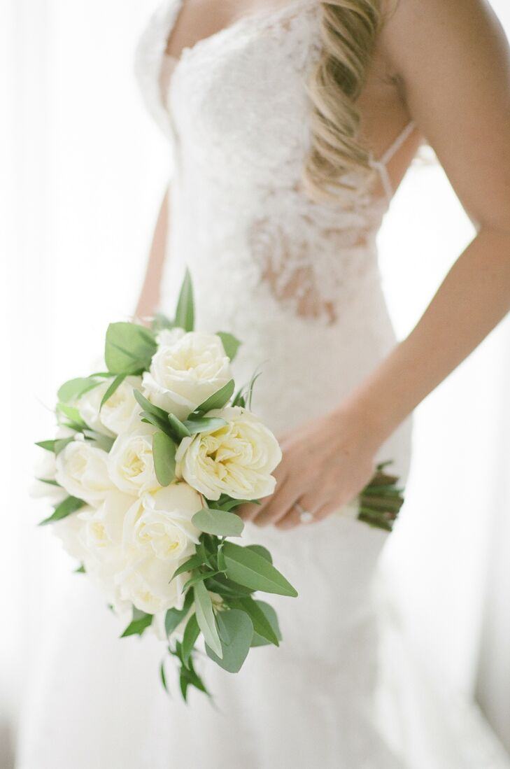 All-White Bouquet for Wedding at Larkspur in Vail, Colorado