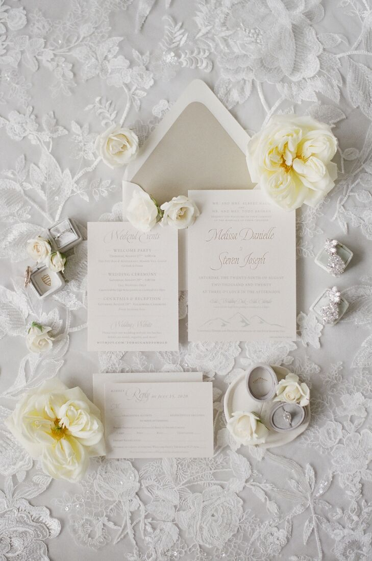 Gold-and-White Invitation for Wedding at Larkspur in Vail, Colorado
