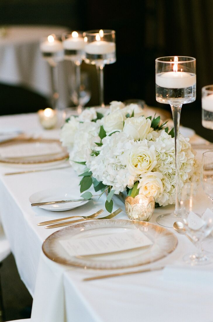 White-and-Gold Place Settings at Larkspur in Vail, Colorado