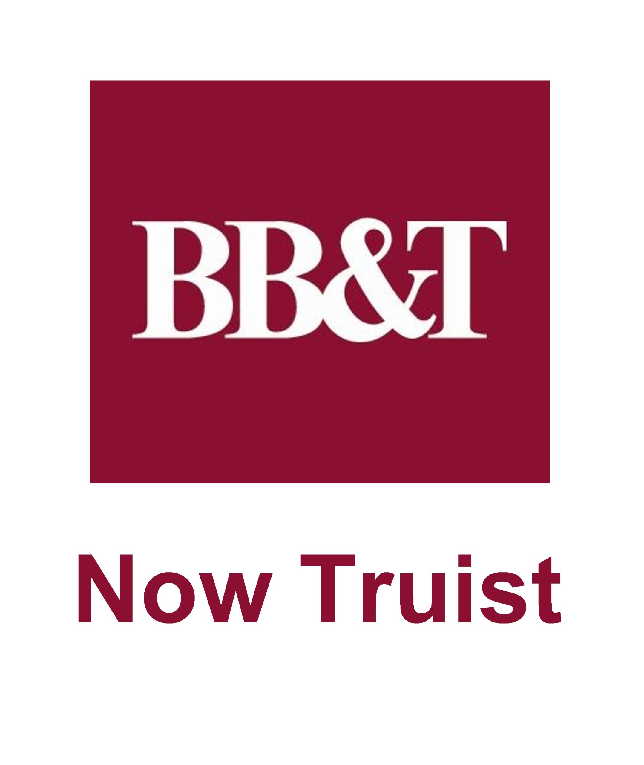 Logo of BB&T financial organization. Red square with white BB&T letters on top. Below the square says Now Truist