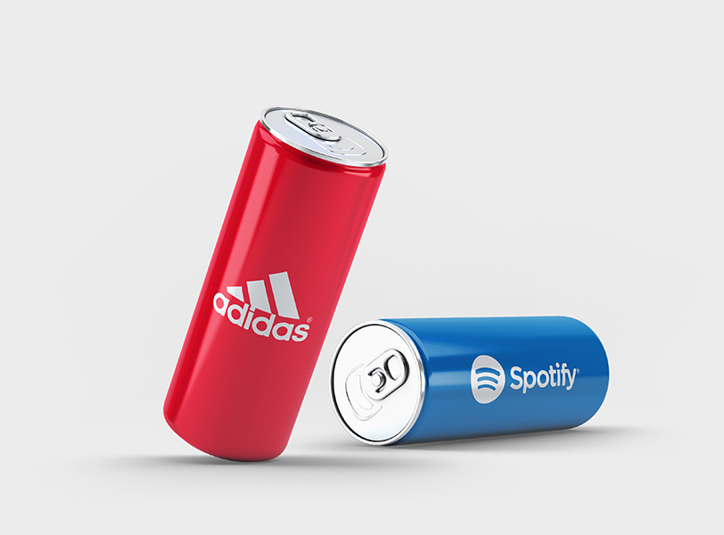 Image of two cans with Addidas and Spotify logo applied on them