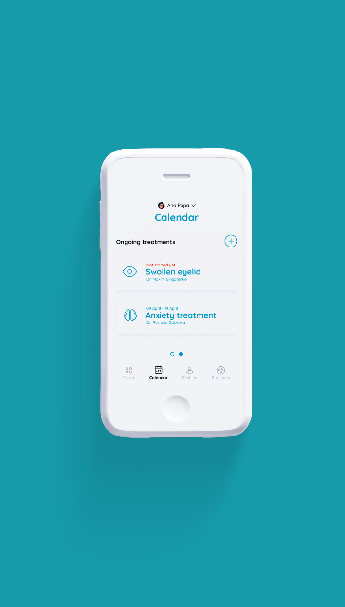 Health app interface design