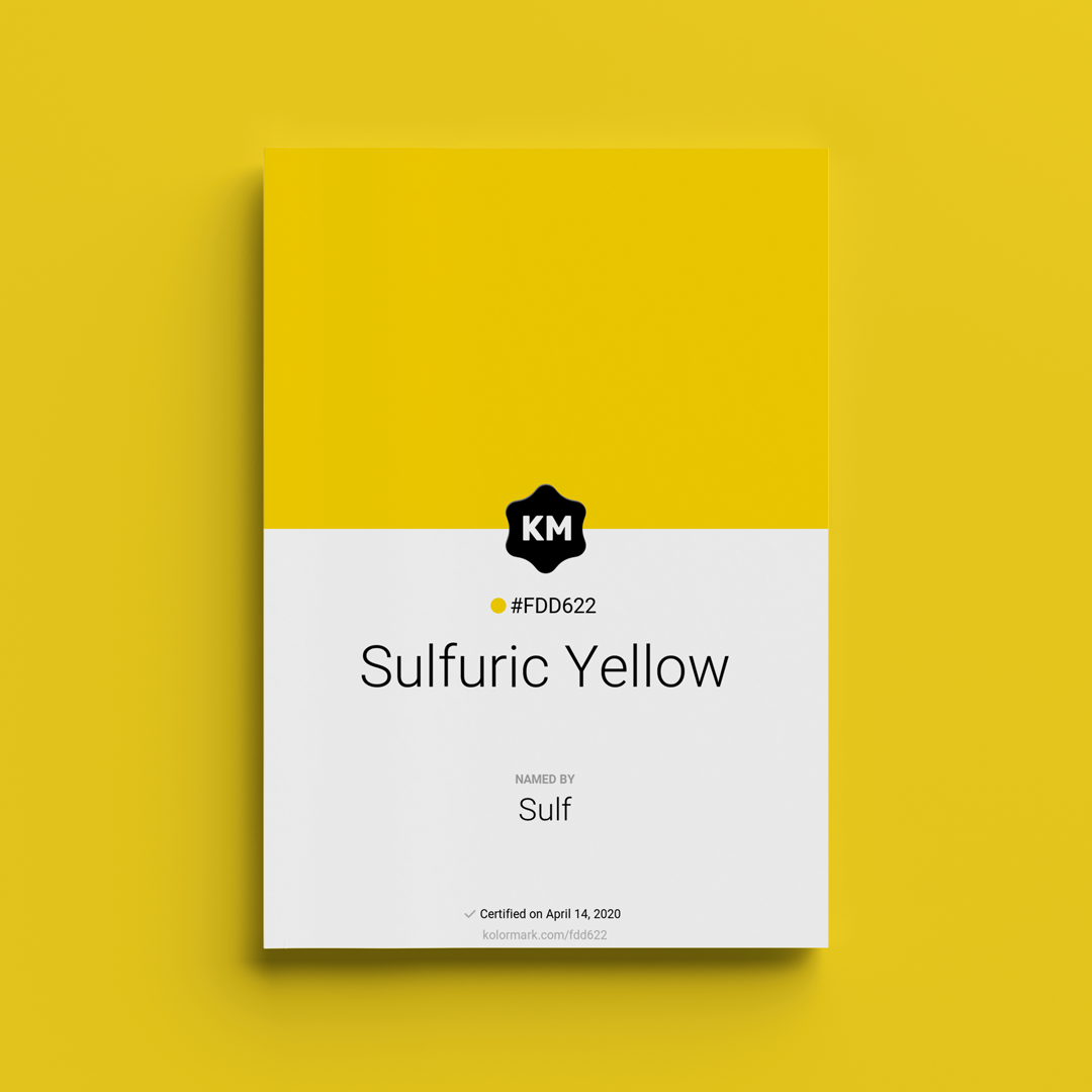 Sulf Yellow color certificate #FDD622