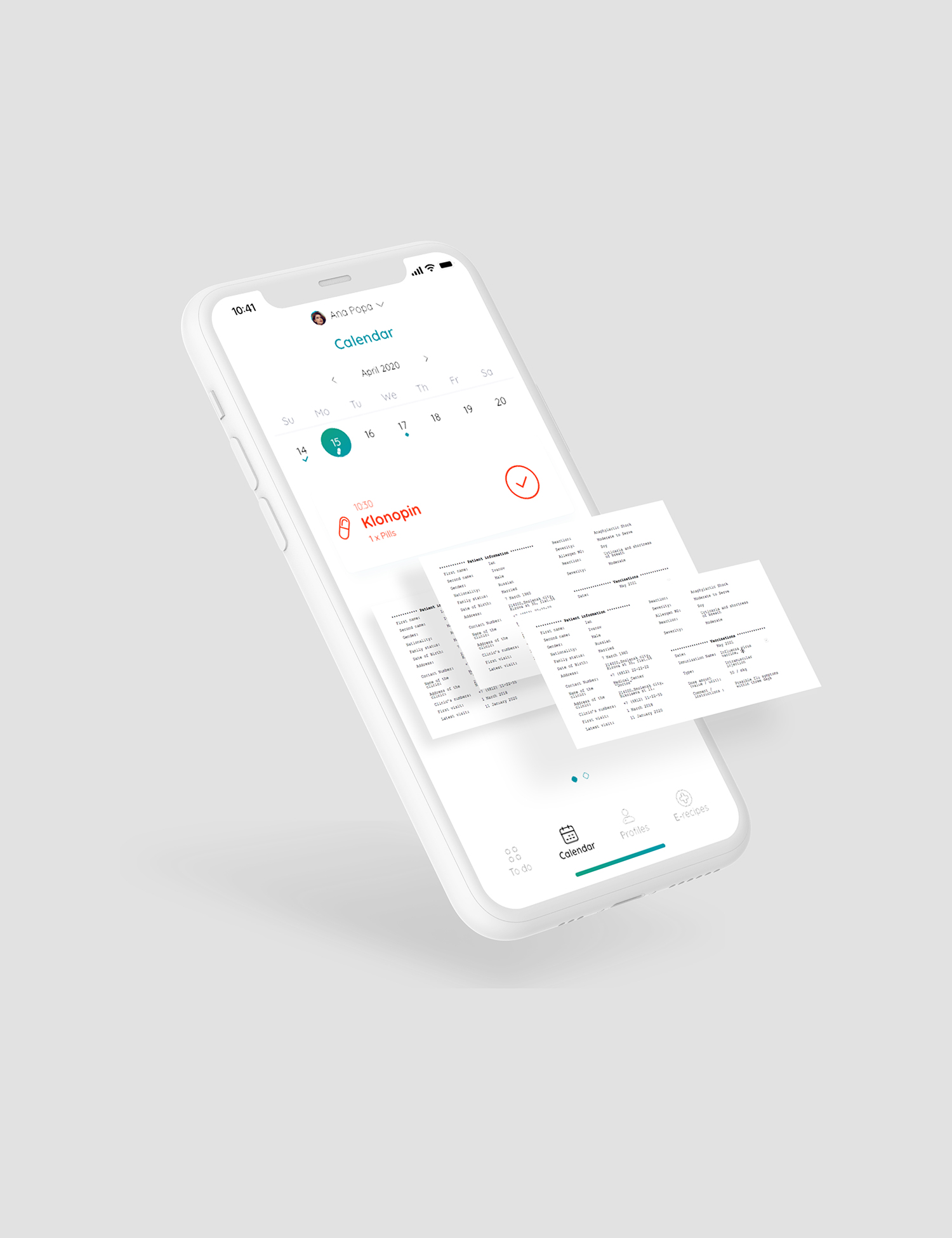Health app screen presentation