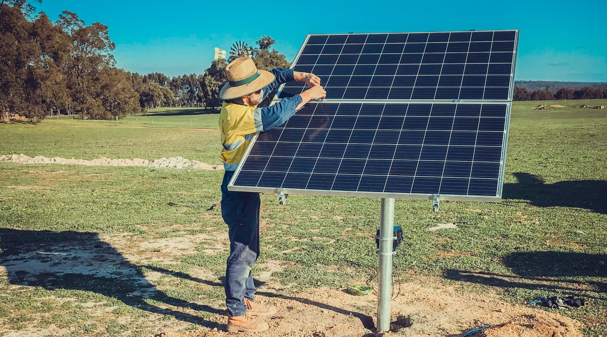 Western Australian solar panel installation for bore water.