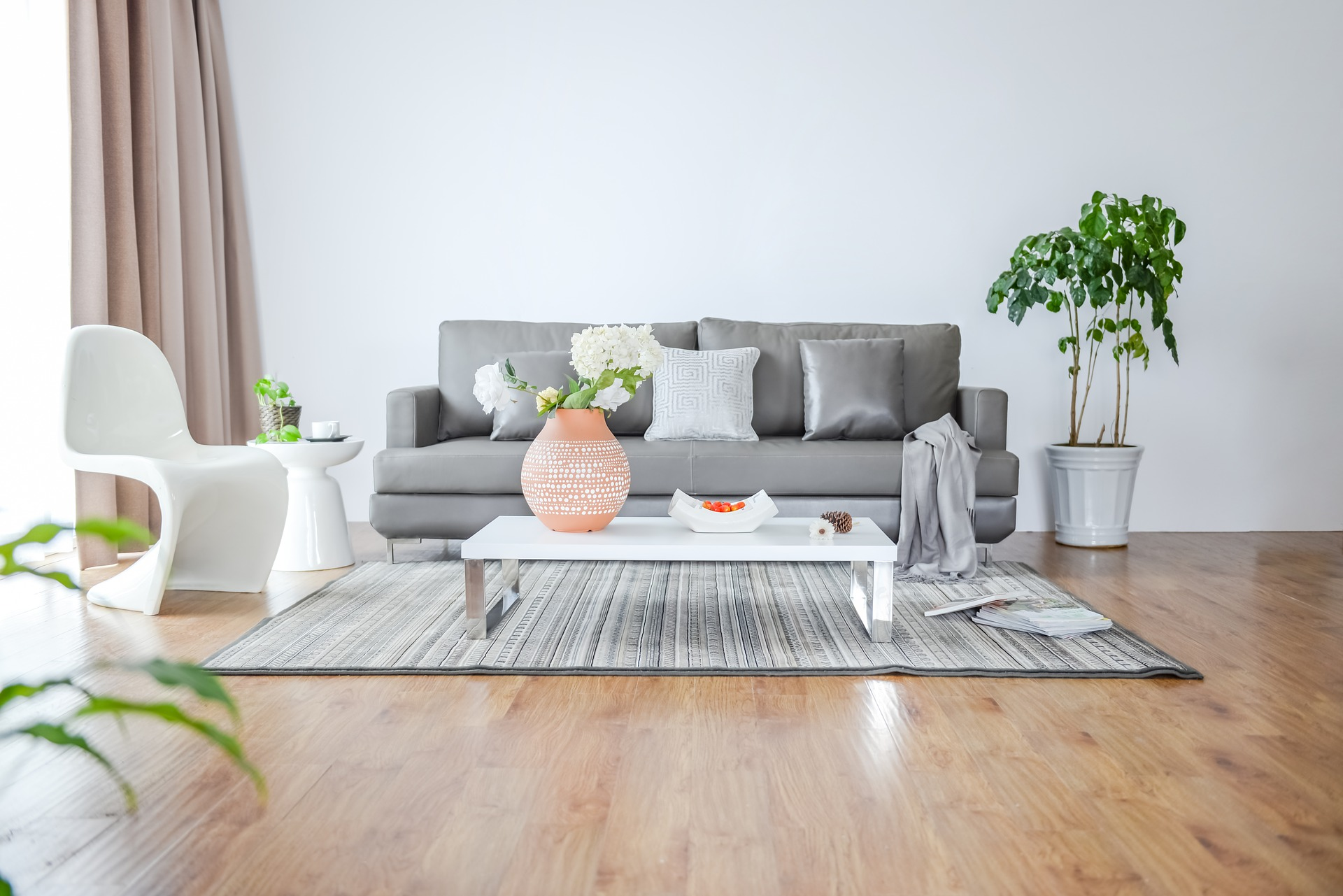 clean home with couch, plants and floor