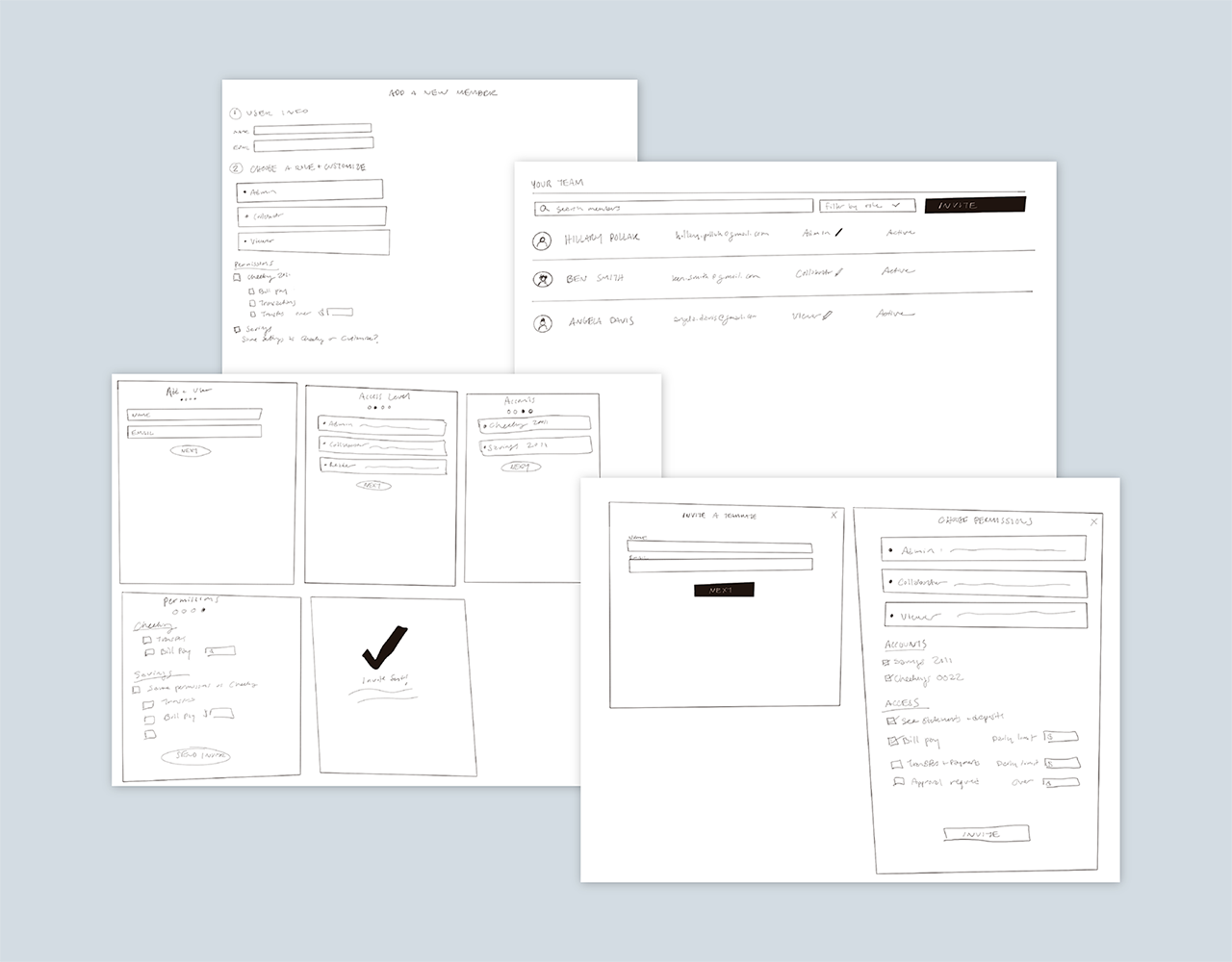 Business banking UX / UI wireframe sketches depicting part of the user experience design process at Narmi.