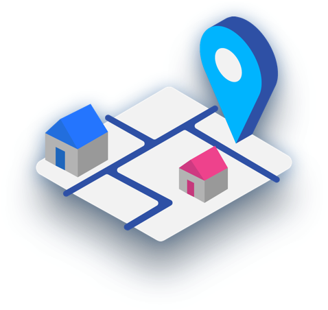 isometric location pin and map