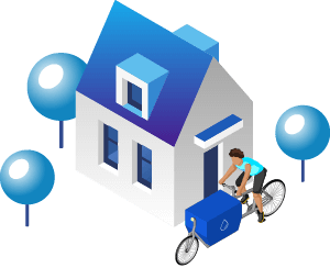 Isometric rider and house graphic illustration