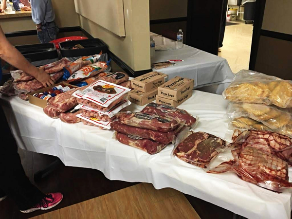 Packages of meat on table