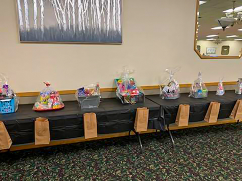 Table with prize baskets.