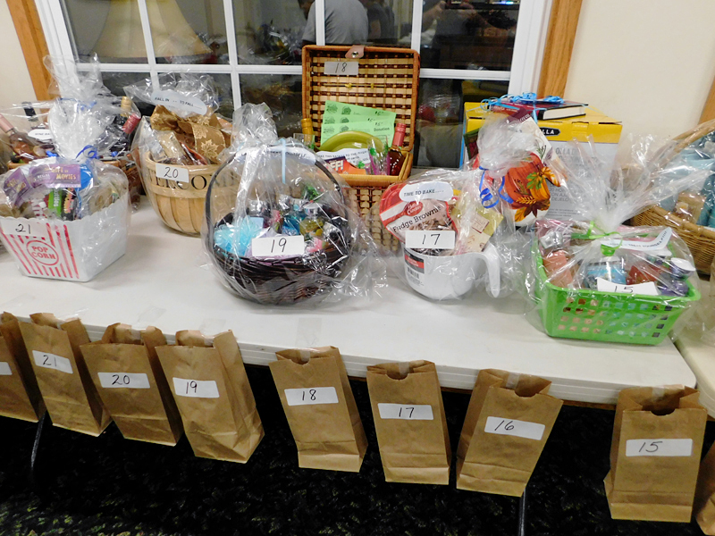 Raffle baskets on table