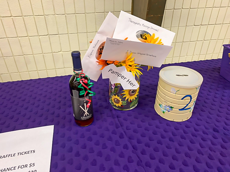 Raffle prizes on table
