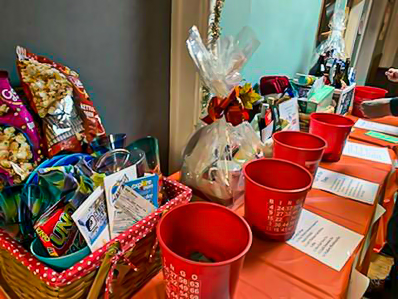 Prize baskets on table