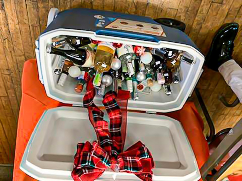 Cooler full of bottles of wine