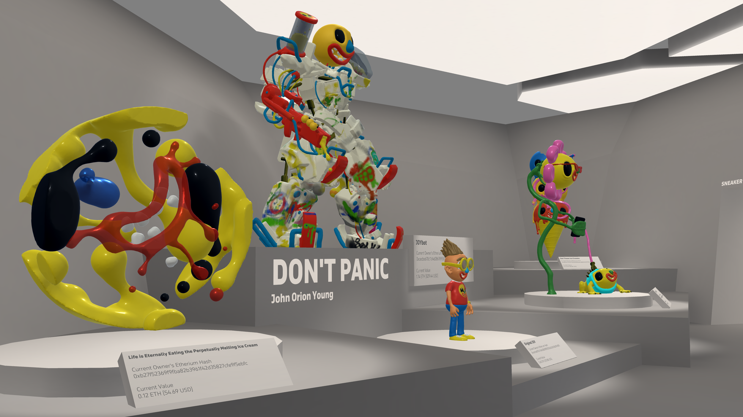 Don't Panic , an exhibit featuring a few pieces created by John Orion Young in Oculus Medium