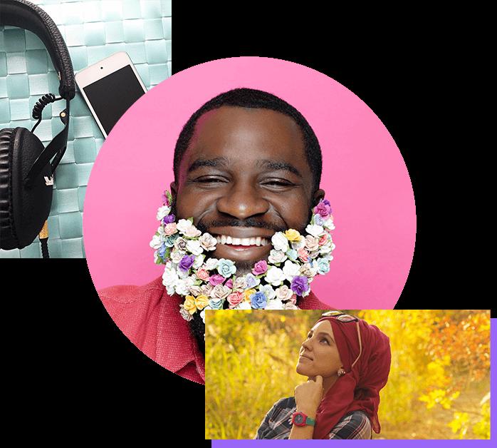 Plusieurs images montrant des personnes entrain de rire ou de méditer