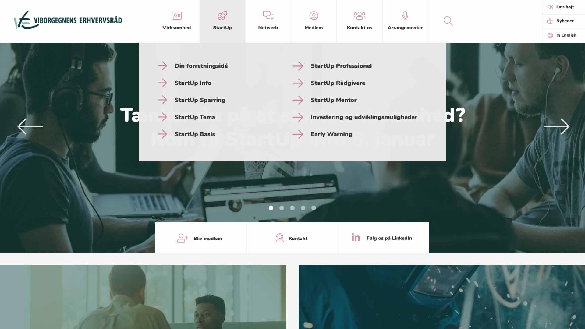 Billede der viser design på navigation på Viborgegnens Erhvervsråds nye hjemmeside