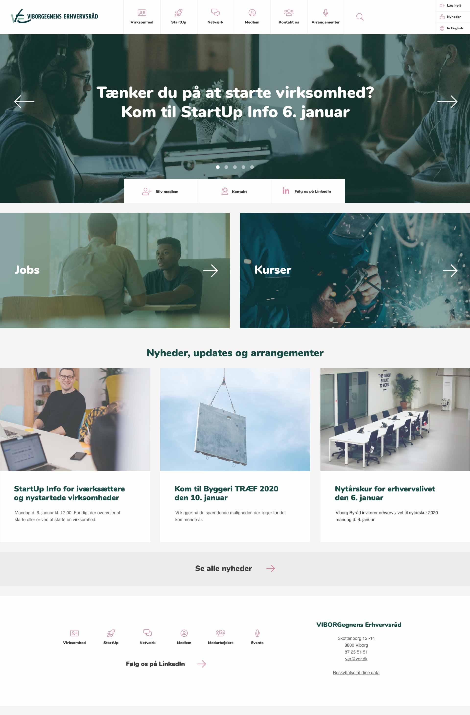 Billede der viser design på forsiden af Viborgegnens Erhvervsråds nye hjemmeside