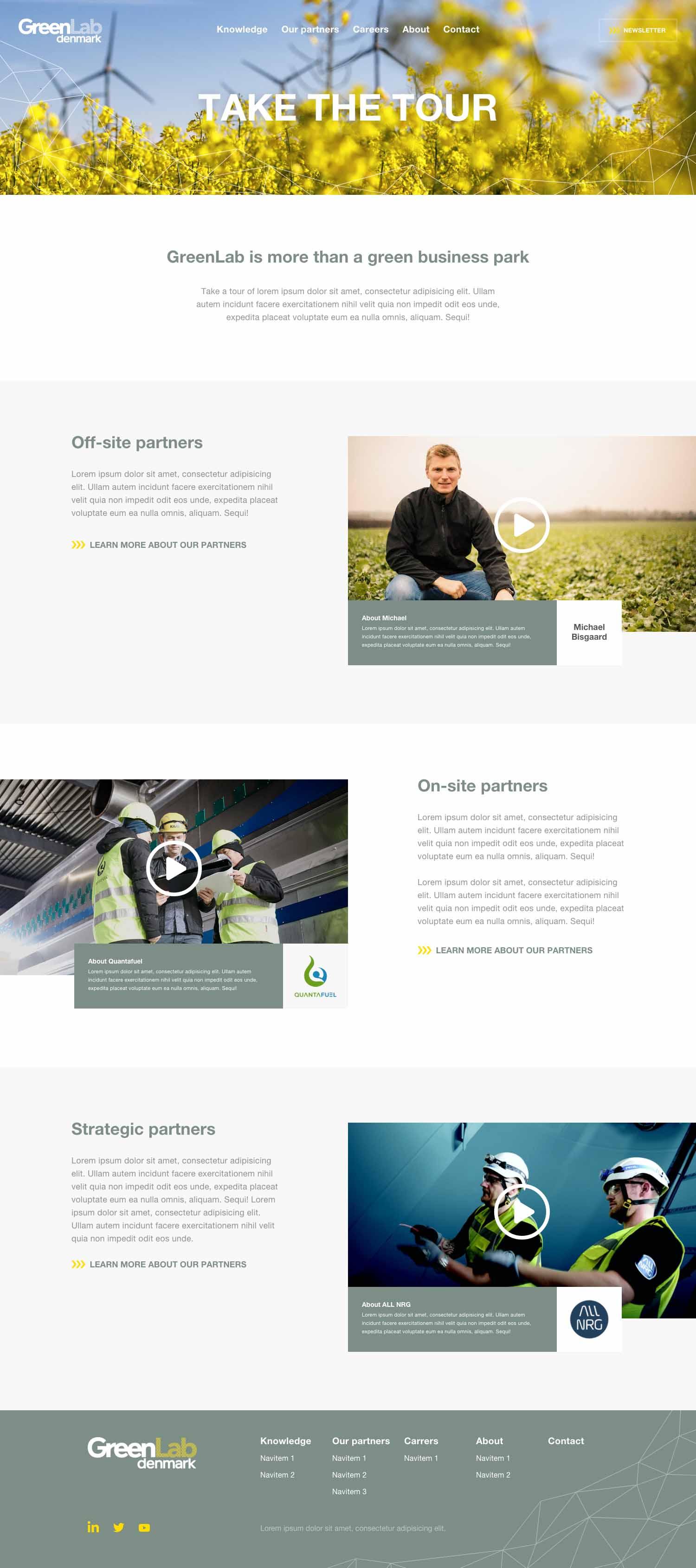 Billede der viser design på en underside af GreenLabs nye hjemmeside