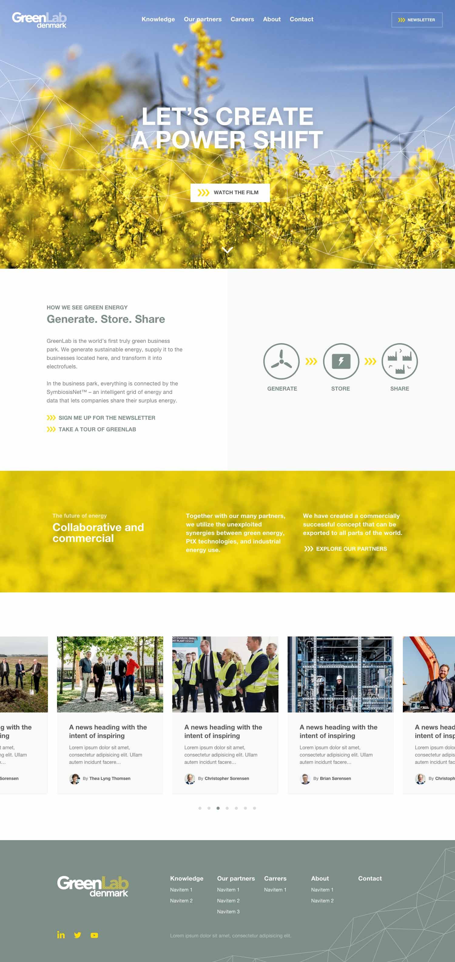 Billede der viser design på forsiden af GreenLabs nye hjemmeside